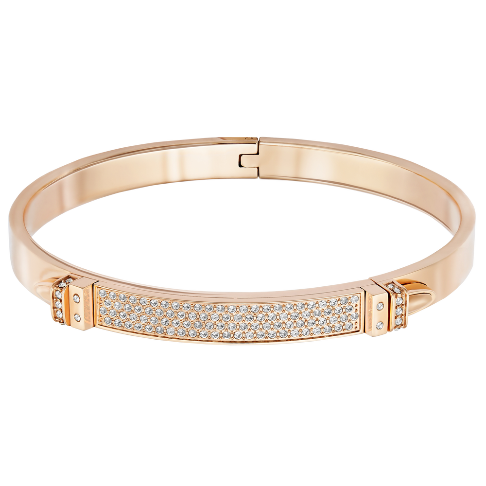 Distinct Narrow Bangle, White, Rose Gold Plated
