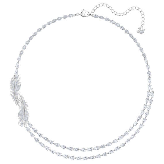 Nice Double Layer Necklace, White, Rhodium plated