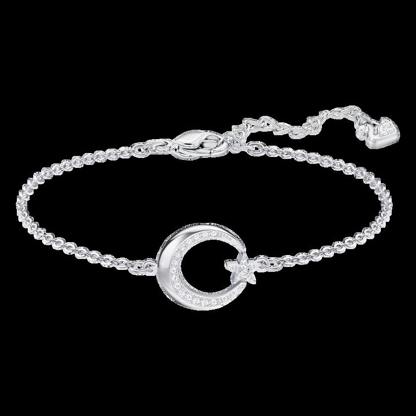 Crescent Star Bracelet, White, Rhodium plated