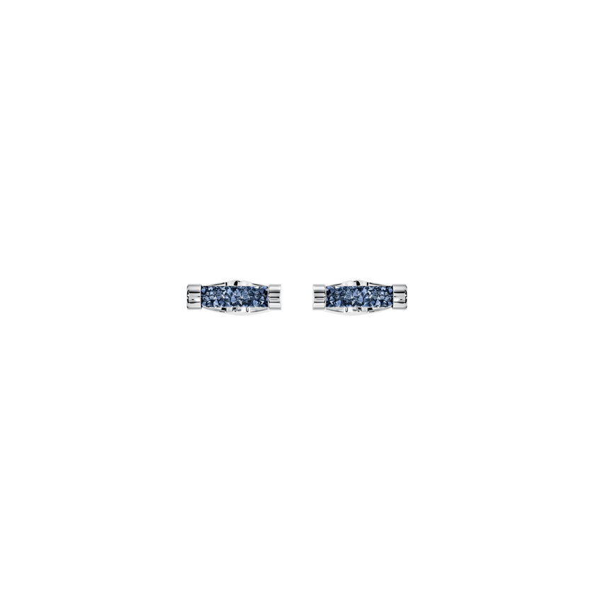 Crystaldust Cuff Links, Blue, Stainless Steel