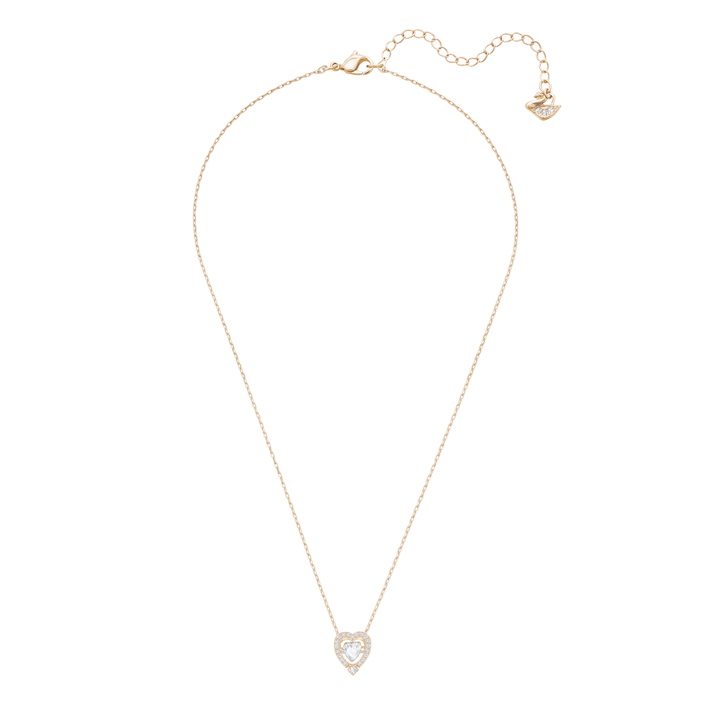 Sparkling Dance Heart Necklace, White, Rose Gold Plated