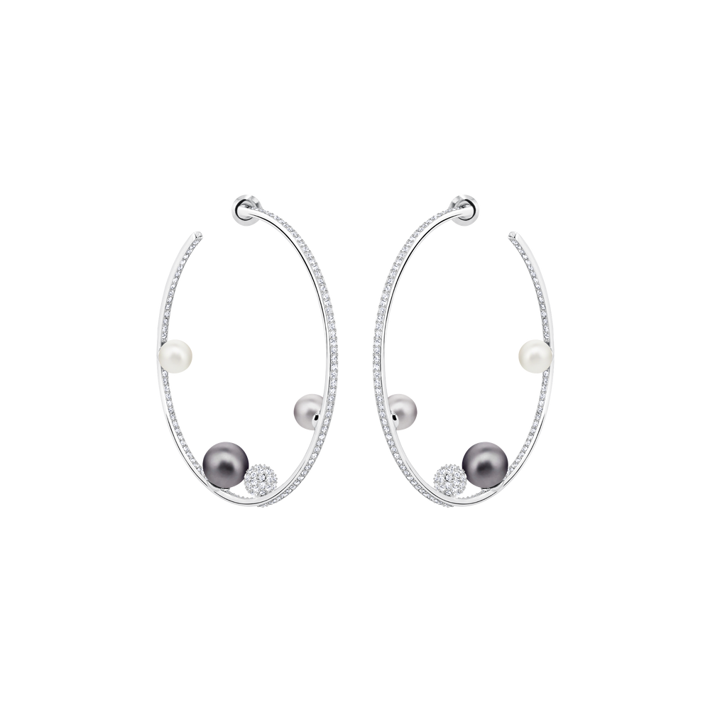 Canopy Hoop Pierced Earrings, Multi-colored, Rhodium plated