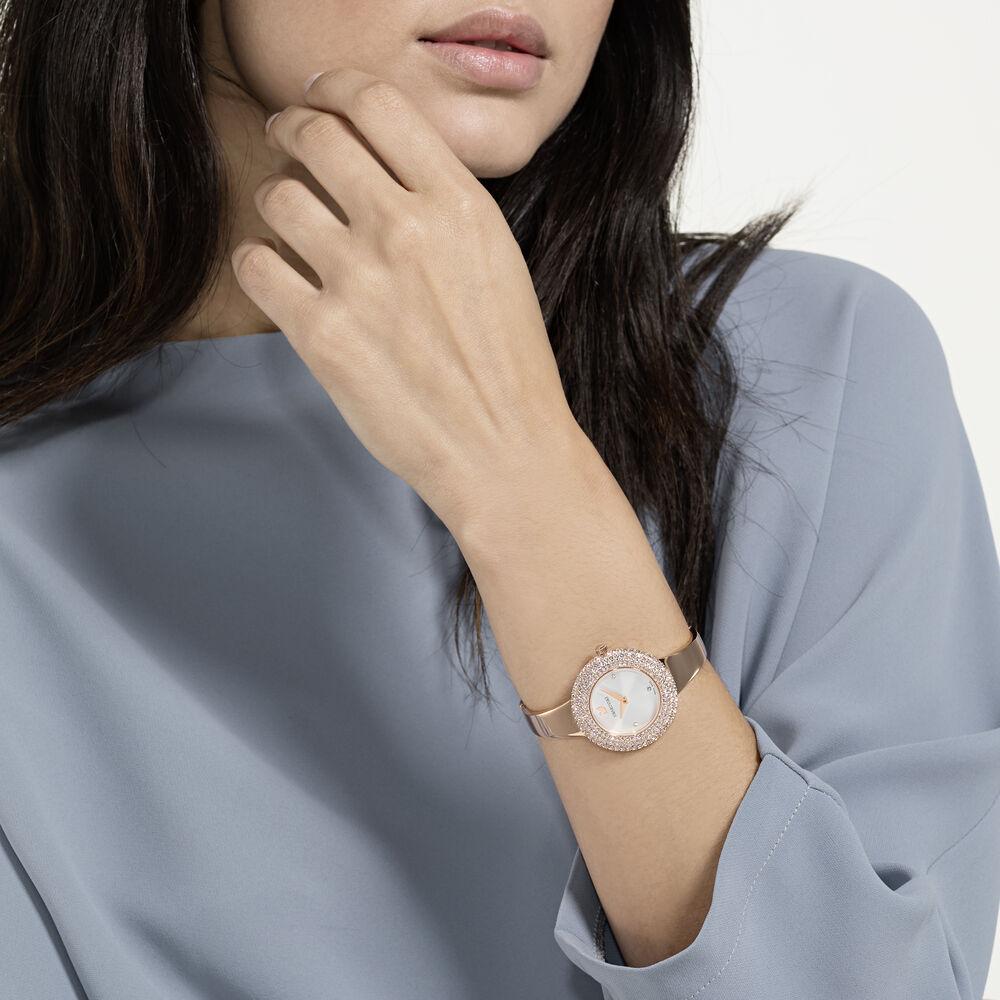 Crystal Rose Watch, Metal Bracelet, White, Rose-gold tone PVD