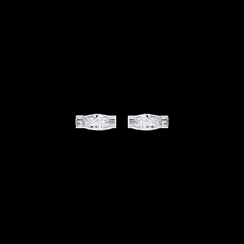 Crystaldust Cuff Links, White, Stainless Steel