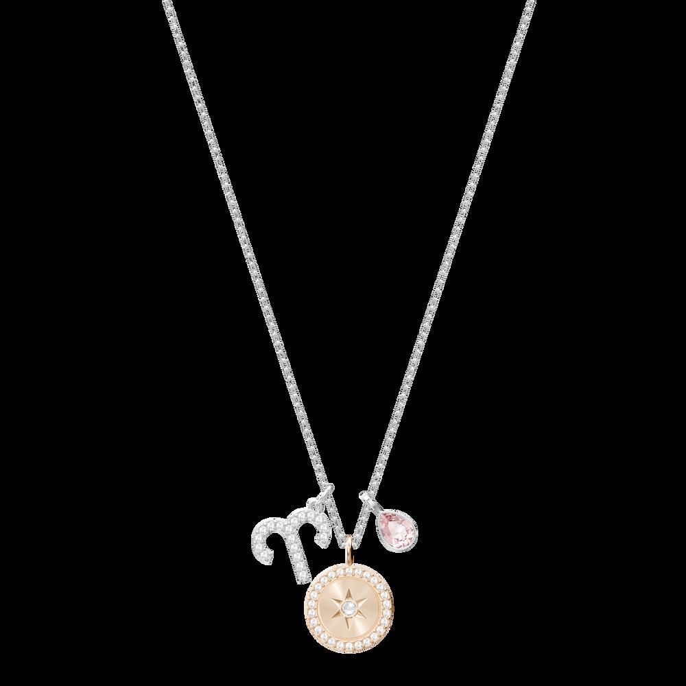 Zodiac Pendant, Aries, Pink, Rhodium Plating