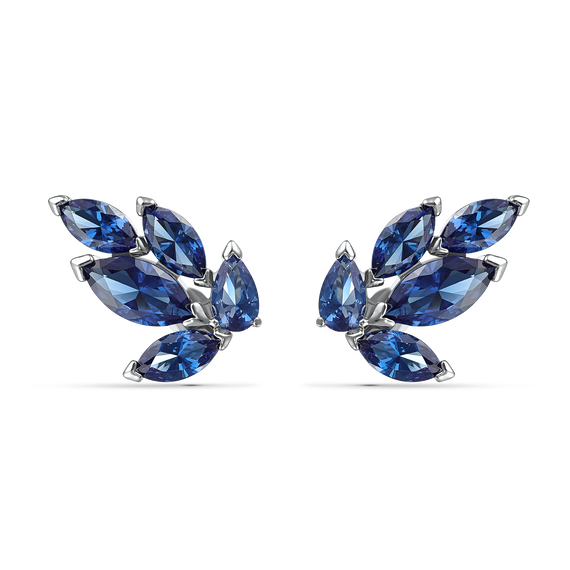Louison Stud Pierced Earrings, Blue, Rhodium plated