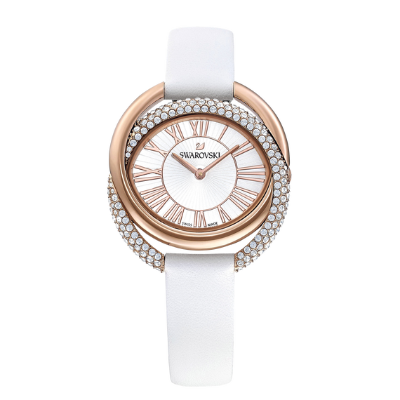 Duo Watch, Leather Strap, White, Rose-gold tone PVD
