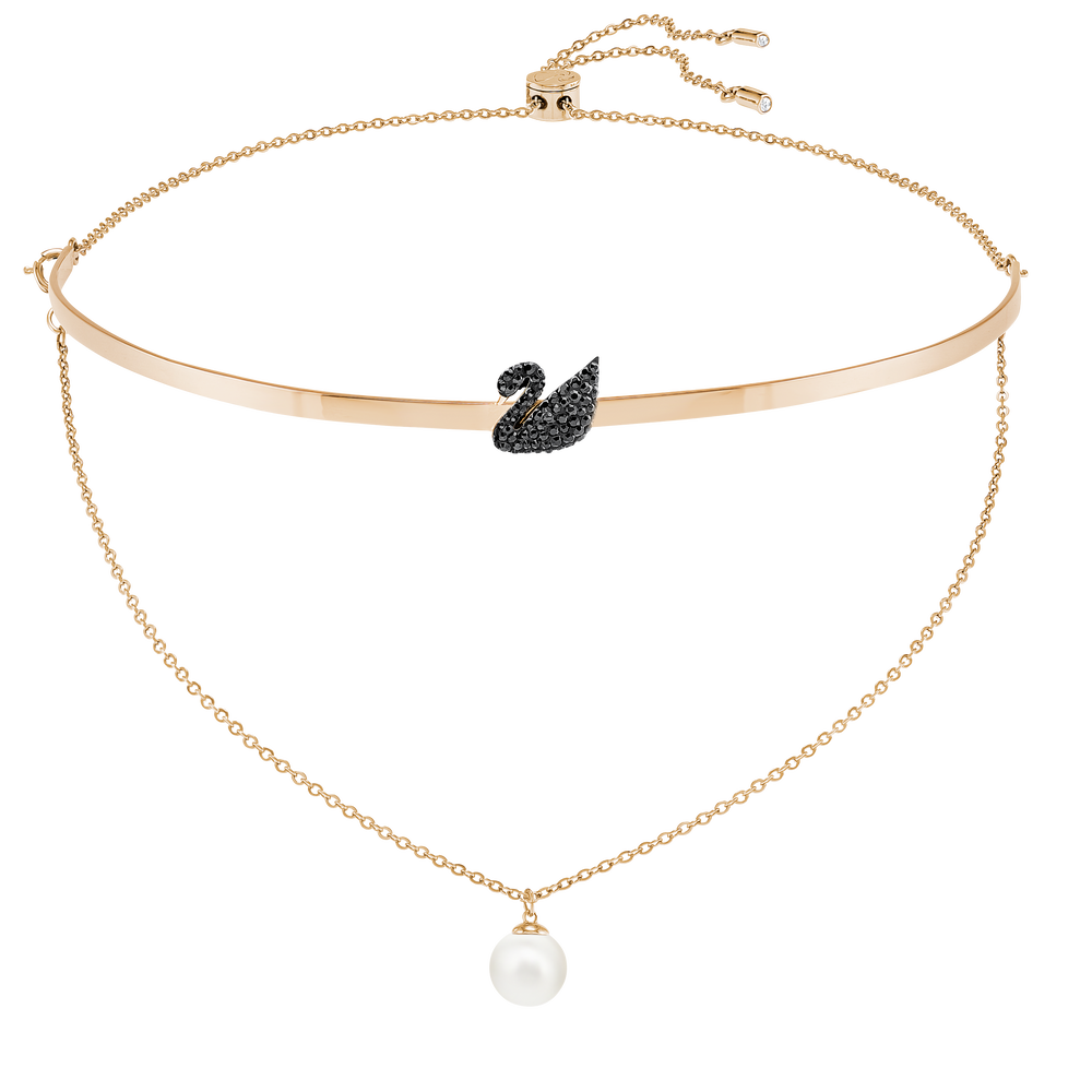 Iconic Swan Choker, Black, Rose gold-toned plated