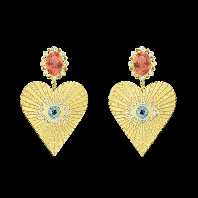 Lucky Goddess Heart Clip Earrings, Multi-colored, Gold plating