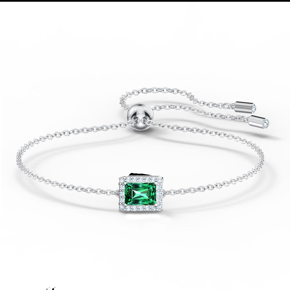Angelic Rectangular Bracelet, Green, Rhodium plated