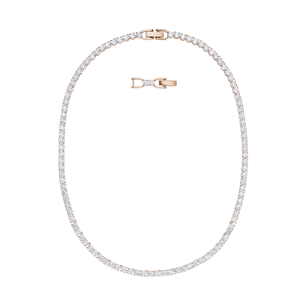 Tennis Deluxe Necklace, White, Rose-gold tone plated