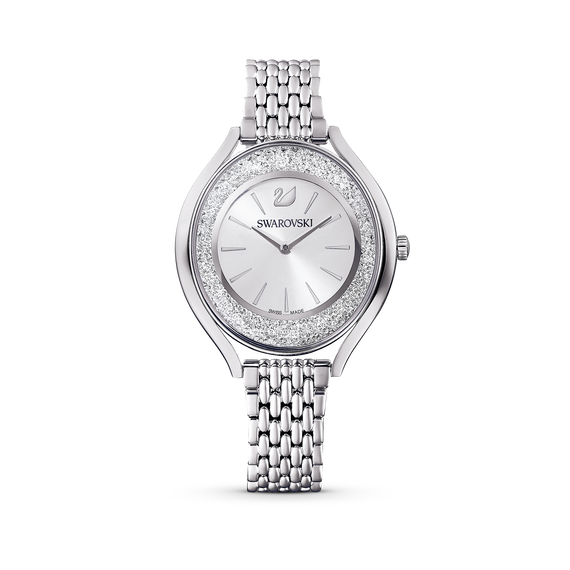 Crystalline Aura Watch, Metal Bracelet, Silver tone, Stainless steel
