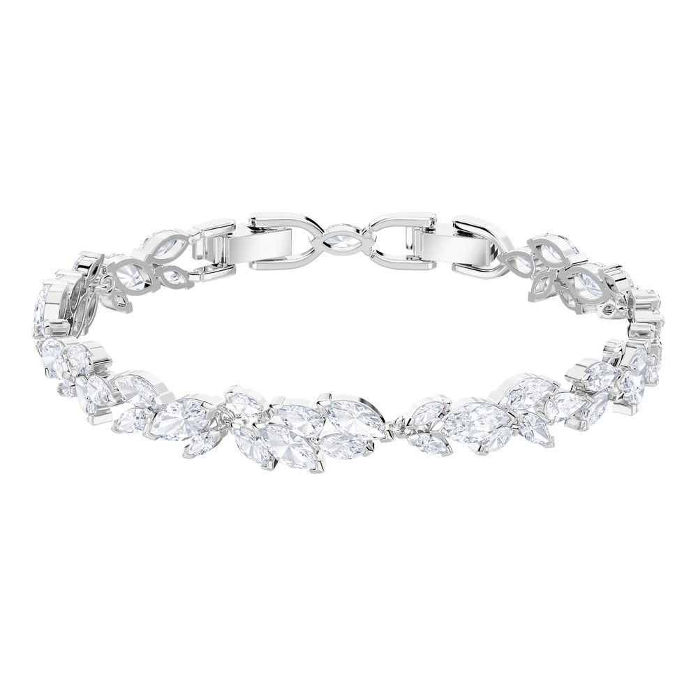 Louison Bracelet, White, Rhodium Plating