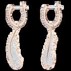 Naughty Hoop Pierced Earrings, White, Rose-gold tone plated