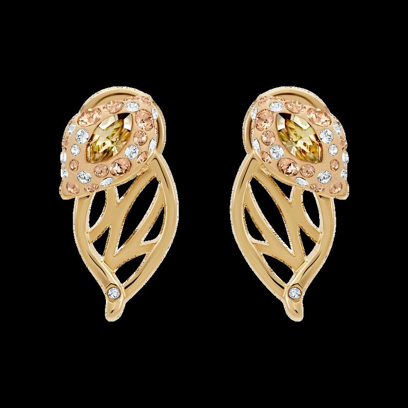 Graceful Bloom Stud Earrings, Brown, Gold-tone plated
