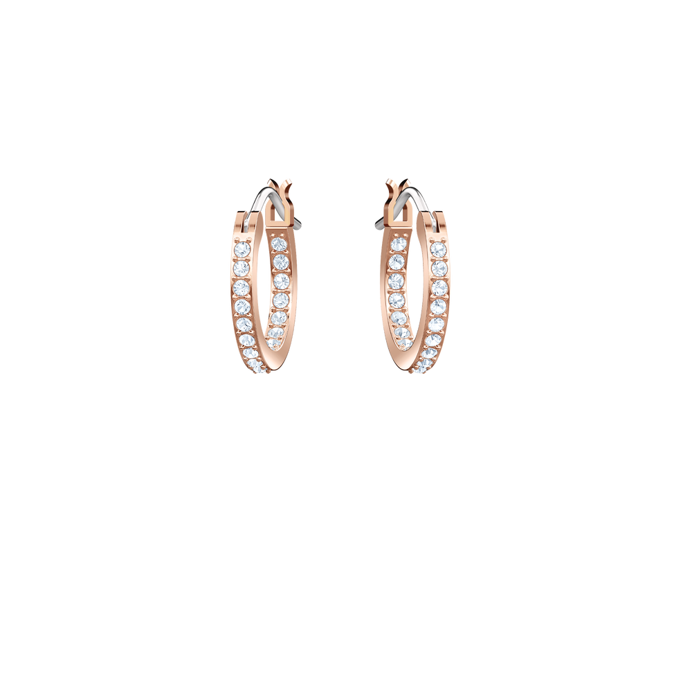 Duo Evil Eye Hoop Pierced Earrings, Multi-Colored, Rose Gold Plating