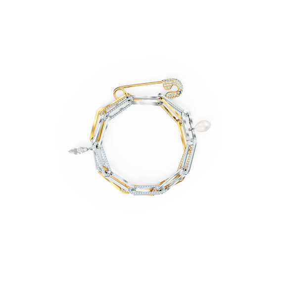So Cool Chain Bracelet, White, Mixed metal finish