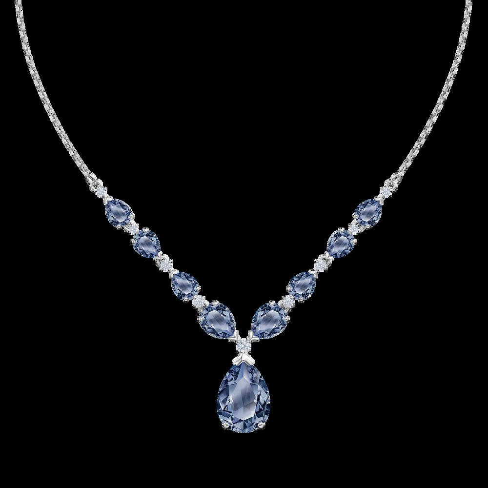 Vintage Necklace, Blue, Rhodium plated