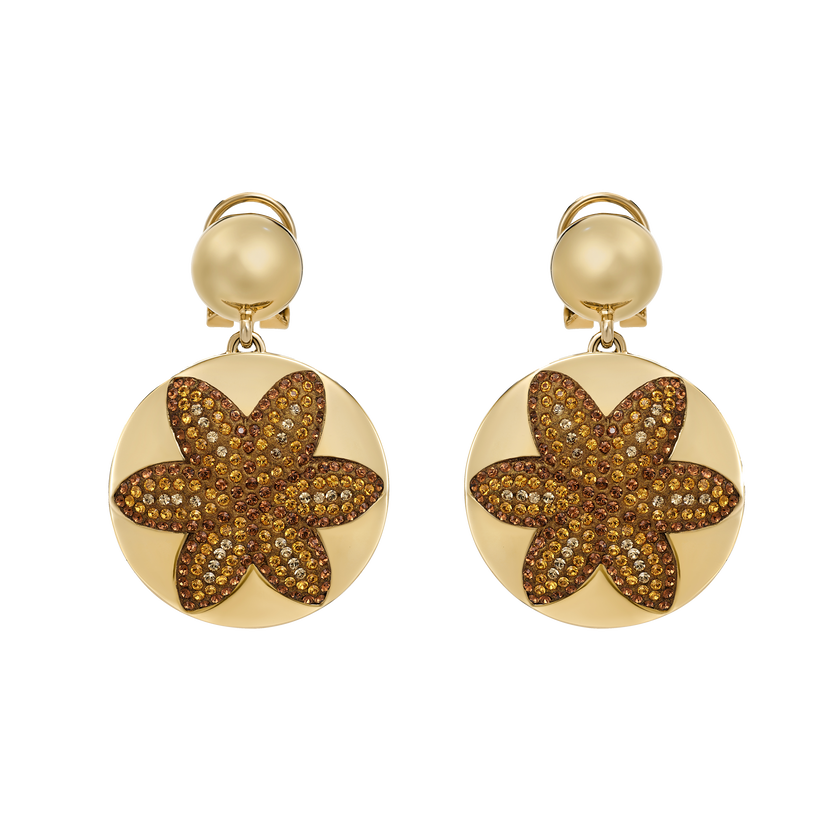 Evil Eye Disc Clip Earrings, Small, Brown, Gold-tone plated