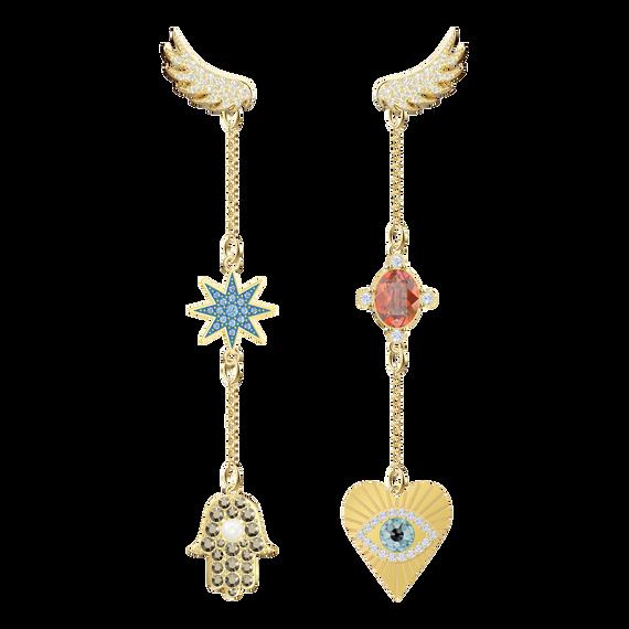 Lucky Goddess Pierced Earrings Long, Multi-colored, Gold plating