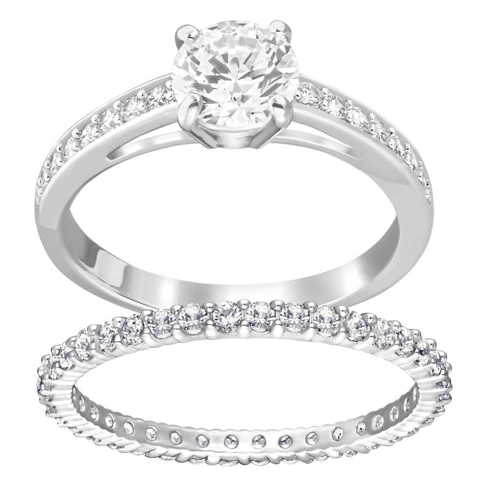 I Do Ring Set, White, Rhodium Plating