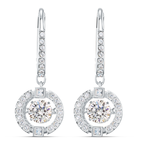 Swarovski Sparkling Dance Pierced Earrings, White, Rhodium plated