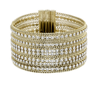 Fit Wide Bracelet, White, Gold-tone plated