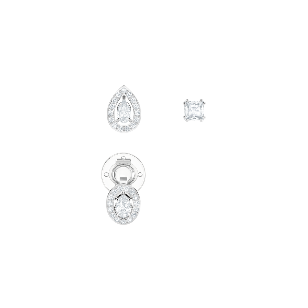 Attract Pierced Earrings, White, Rhodium Plating
