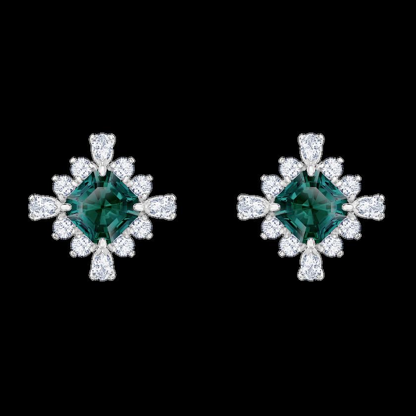 Palace Stud Pierced Earrings, Green, Rhodium plated