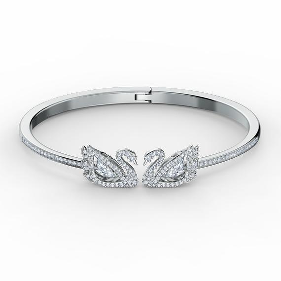 Dancing Swan Bangle, White, Rhodium plated