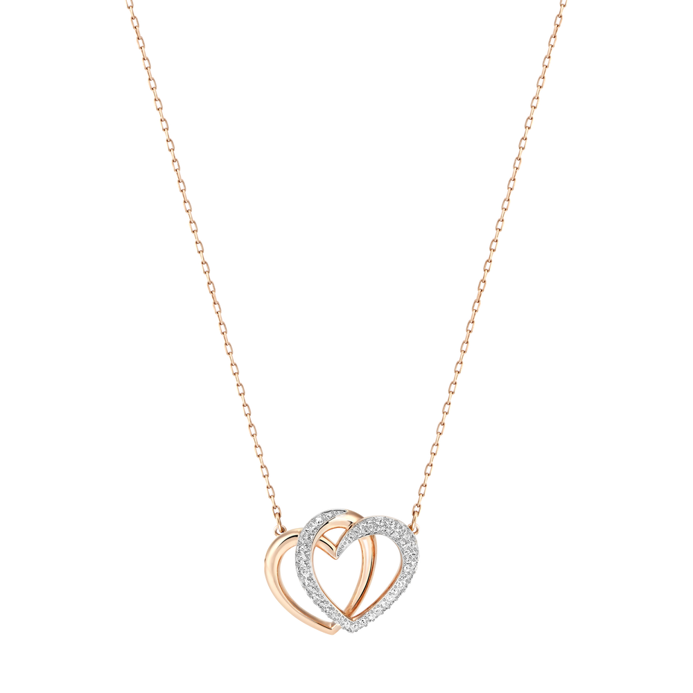 Dear Necklace, Medium, White, Rose Gold Plated
