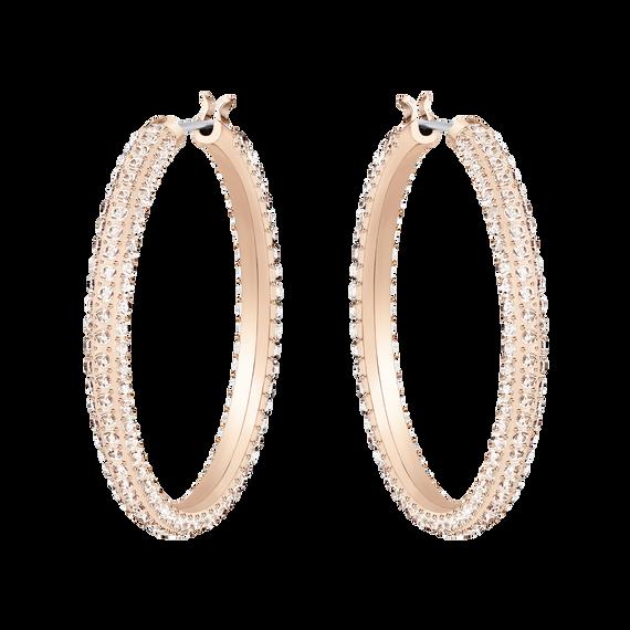 Stone Hoop Pierced Earrings, Pink, Rose Gold Plating