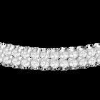 Subtle Double Bracelet, White, Rhodium Plated