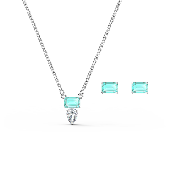 Attract Rectangular Set, Green, Rhodium plated