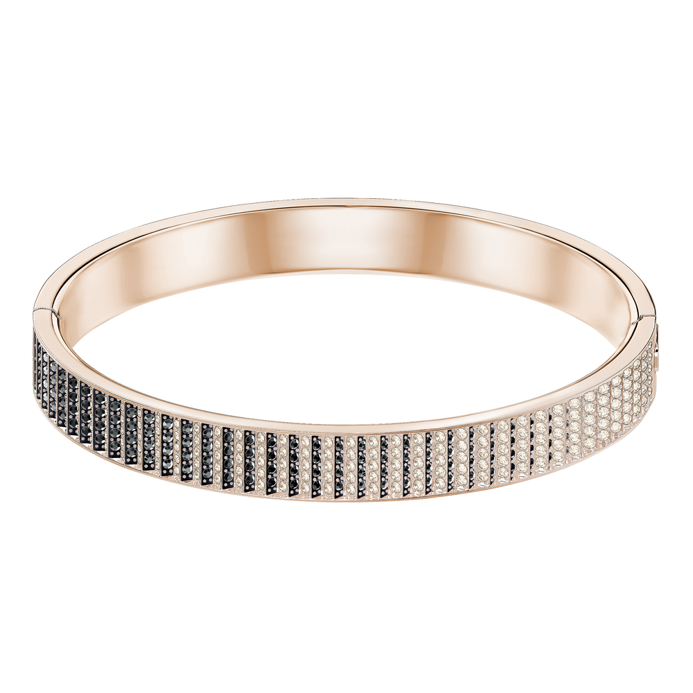 Luxury Bangle, Black, Rose-gold tone plated