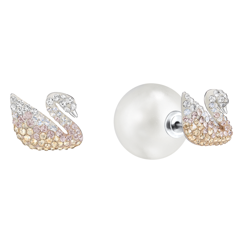 Iconic Swan Pierced Earrings, Large, Multi-Coloured, Rhodium Plating