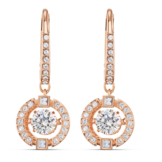Swarovski Sparkling Dance Pierced Earrings, White, Rose-gold tone plated