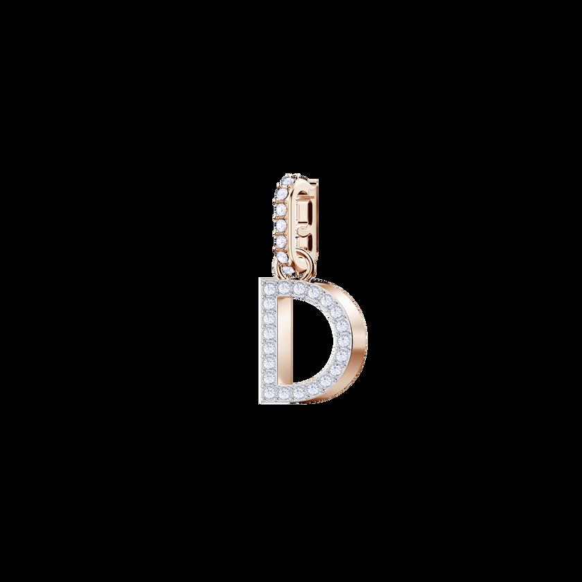 Swarovski Remix Collection Charm D, White, Rose Gold Plating