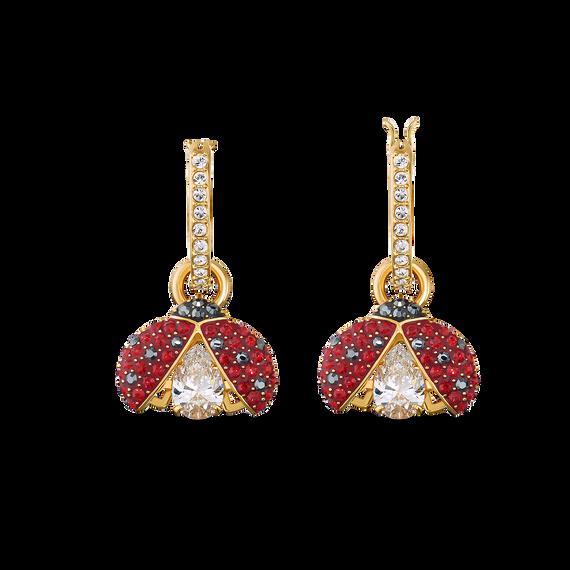 Swarovski Sparkling Dance Ladybug Pierced Earrings, Red, Gold-tone plated