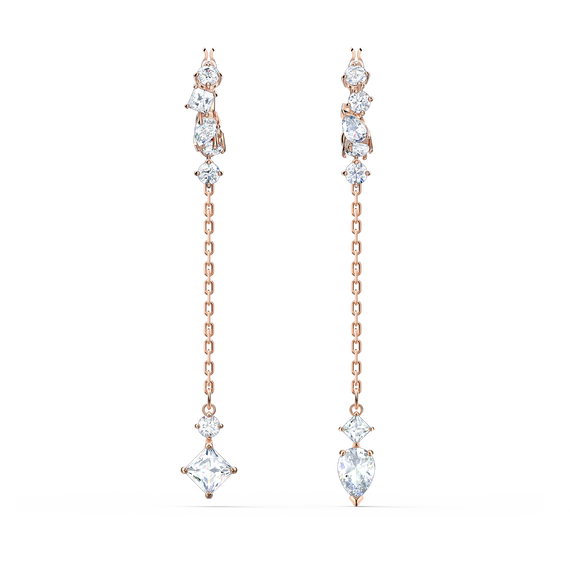 Attract Pierced Earrings, White, Rose-gold tone plated