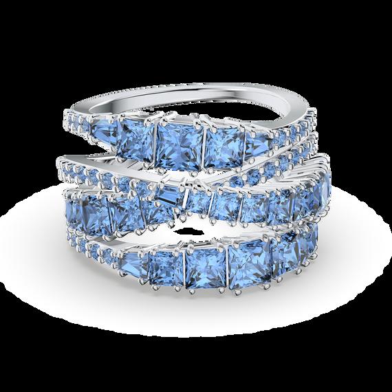 Twist Wrap Ring, Blue, Rhodium plated