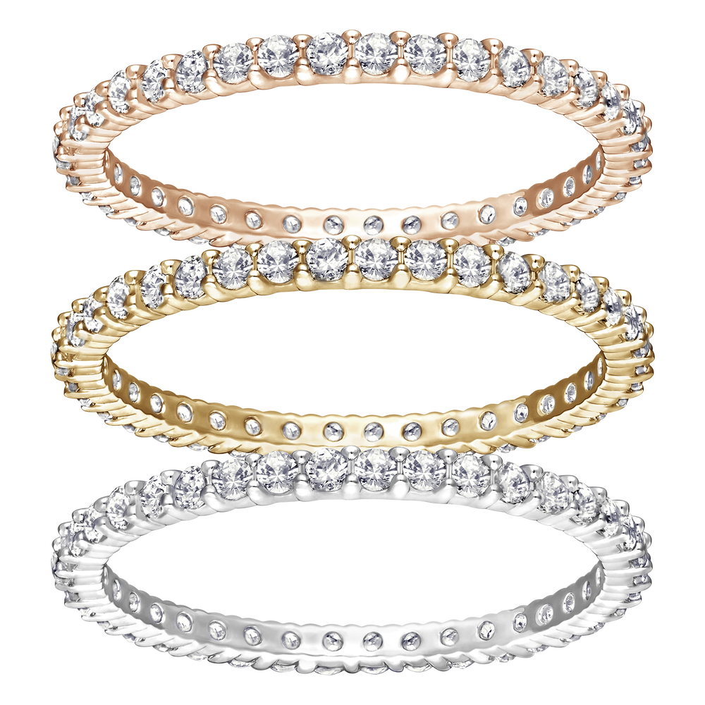 Vittore Ring Set, White, Mixed Plating