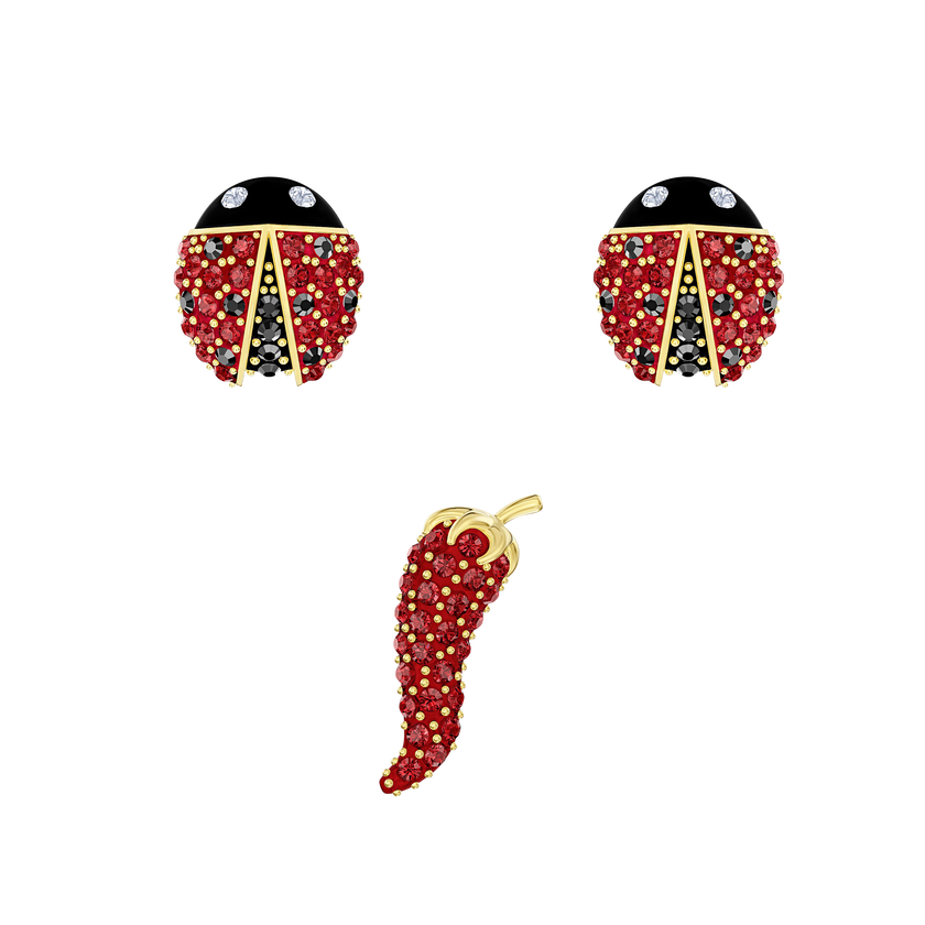 Lisabel Pierced Earrings set, Multi-colored, Gold-tone plated