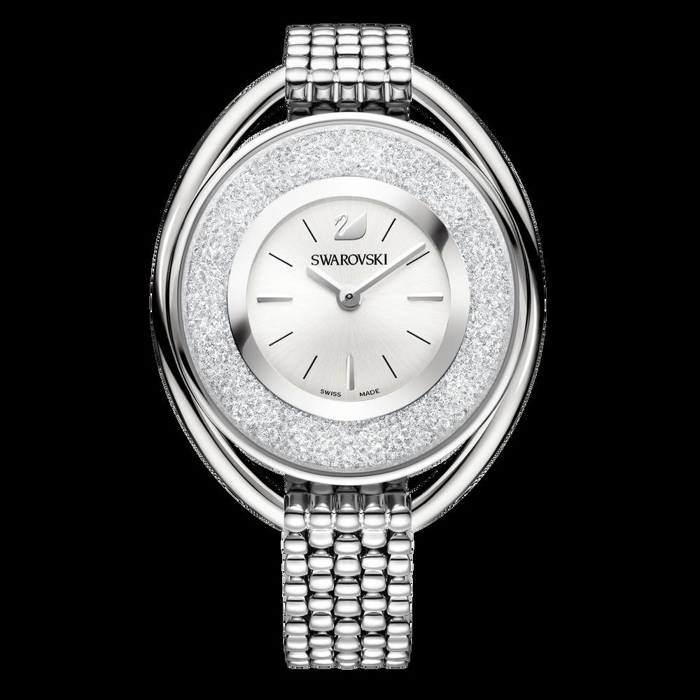 Crystalline Oval Bracelet Watch, White, Stainless Steel