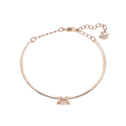 Sparkling Dance Bangle, White, Rose-gold tone plated
