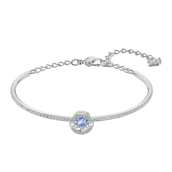 Sparkling Dance Bangle, Blue, Rhodium plated