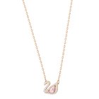 Dazzling Swan Necklace, Multi-colored, Rose gold plating