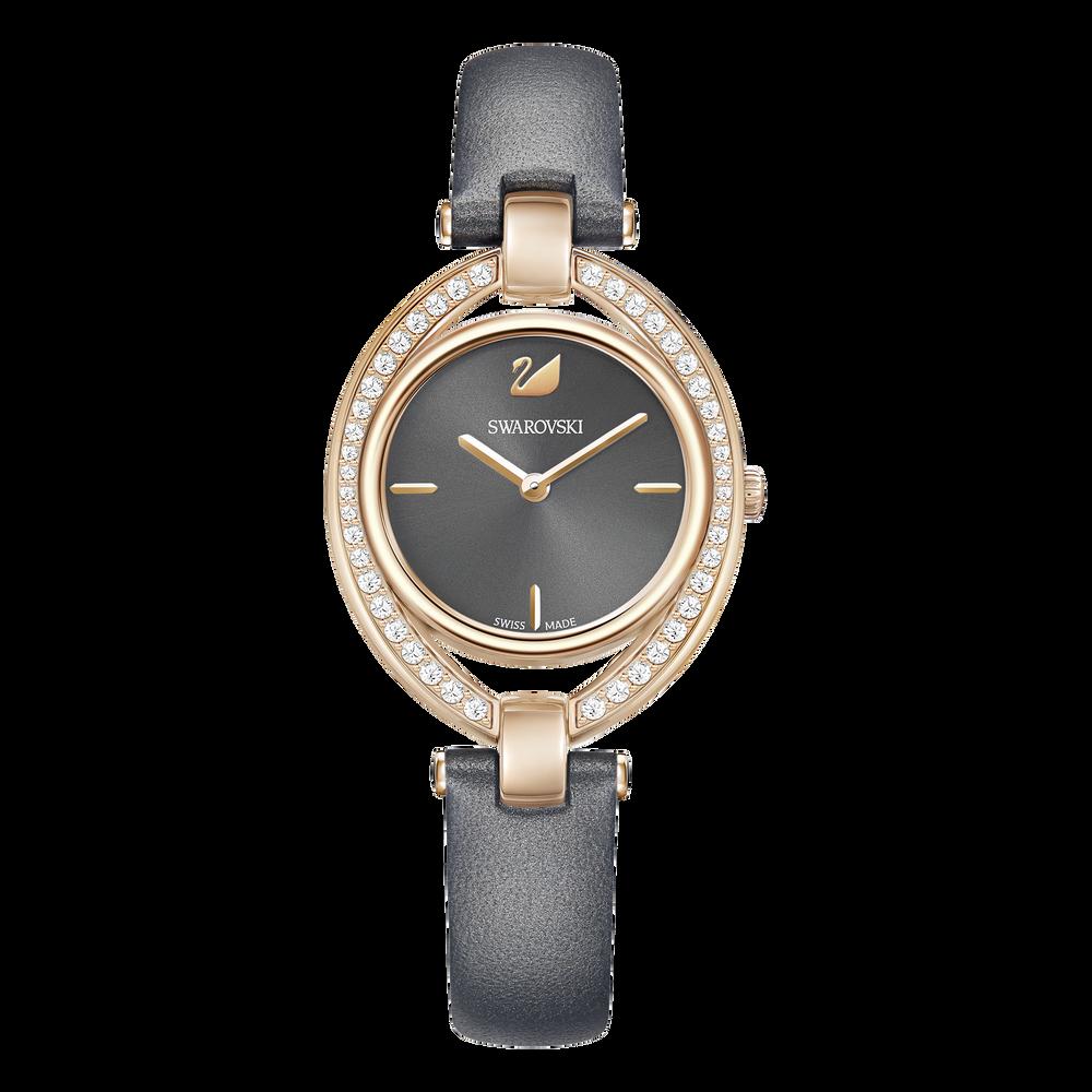 Stella Watch, Leather Strap, Dark Gray, Rose Gold Tone