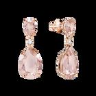 Vintage Drop Pierced Earrings, Pink, Rose Gold Plating
