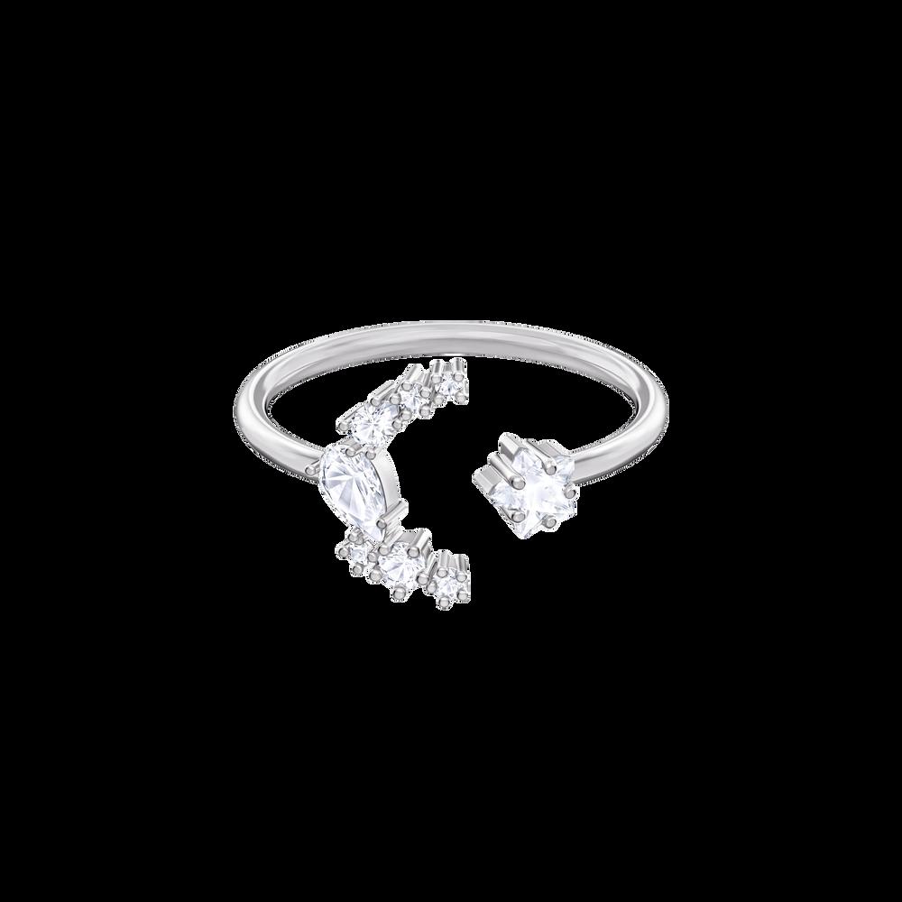 Moonsun Motif Ring, White, Rhodium plated